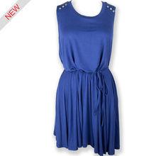 azul de moda las mujeres blusa de algodón al por mayor fábricas de vestido dama de honor