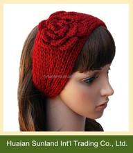 W-524 fall winter fashion crochet hand knitted pattern headband for girl ear warmers