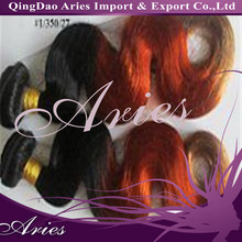 2014New Arrival T1/350/27 Three Tone Color Brazilian Human Hair Weave