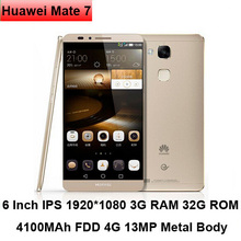 Original Huawei Ascend Mate 7 6 inch Cell Phone 1920x1080 3G 32G Octa Core 4100mAh 4G LTE Smartphone Huawei Mate7 Mobile Phone