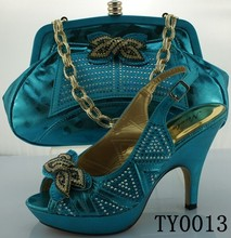 new fashion high heel italy matching shoes and bags tur blue african shoes and bag