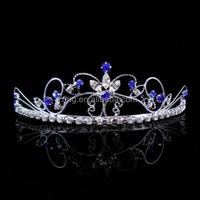 Romantic Style Beautiful Butterfly Flower Blue Crystal Bridal Tiara Headband