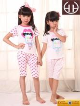 Moda superior 100% algodón pijamas para niños, niños de dibujos animados pijamas