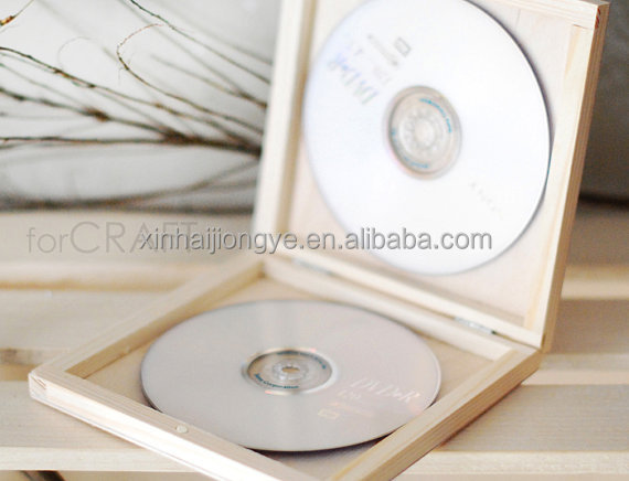 Factory Price Double CD Wooden Case, Natural Color DVD Wood Box