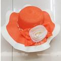 Moda feminina disquete chapéu de palha, flor banda larga aba do chapéu de palha( ht- 1504020020)