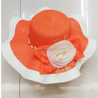 Fashion ladies floppy straw hat , flower band wide brim straw hat(HT-1504020020)