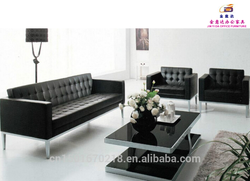 hot sale modern stainless steel base leather office sofa 3033#