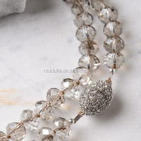 N15092302 Wholesale Fashion Jewelry Long Beaded Glass Crystal Beaded Cz Micro Pave Bead Layering Necklace