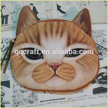 vintage 3d lindo gato cara cosméticos de maquillaje de los niños de almacenamiento de la bolsa bolsa de caso y bolso