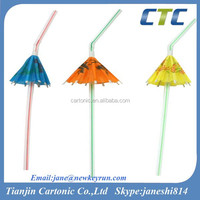Beautiful Umbrella Straw/Umbrella Decorated Plastic Drinking Straw
