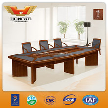 Boat shaped wooden leather conference table HY-A3038