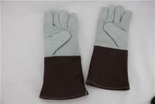 """14"""" EN 388 EN407 Split cow leatherhear resistant welding gloves"""