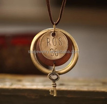 Restore ancient ways jewelry wholesale sweater chain Han edition alloy wood small key tags long necklace couples the circle