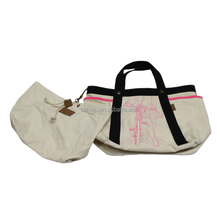 heavy natural canvas tote bag with an inner organizer bag