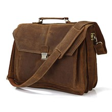 High Quality Drop Shipping Top Grade Multifunctional Fashion Vintage Leather Laptop Bags For Men For 14'' Laptop #7083B