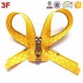 5# metal Y dientes de bloqueo automático de oro de color limón cinta de seda cremallera extremo cerrado for moda desgaste