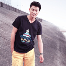 Popular white and black v neck t shirts , v neck wholesale t shirts