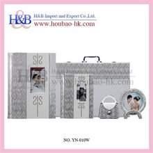 New Design White Leather Material Wedding Photo Album With Slip In Paper
