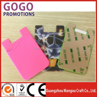 Hot selling pocket business card holder silicone smart phone pocket 3M adhesive stickers silicone phone card holder/wallet/pouch