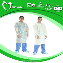 disposable nonwoven isolation gown with elastic cuffs for surgical use in hospitals