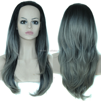 Top Quality Synthetic Half Wigs Ombre Color Black Grey 3/4 Full Wigs Wholesale Fashional Hair 7 Colors