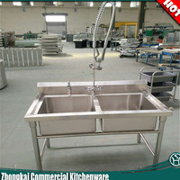 Restaurant kitchen sink table commercial sink bench with faucet and sprayer