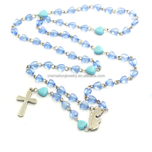 Handmade Hotest Accessory Plastics Blue Heart Fashion Christianity Women Rosary Christ Religious Crucifix Cross Necklace Gift