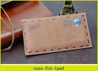 2015 Retro Wind Envelope Design Direct Insertion High-grade Leather Case for ipad 1 ,2,3,4,5,6