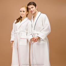 white shawl collar waffle bathrobe for sex woman night dress