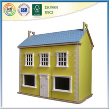 Yellow & blue wooden doll house for Children Decoration