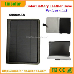 new gadgets 2015 PU leather 6000mAh charging cable solar case for tablet