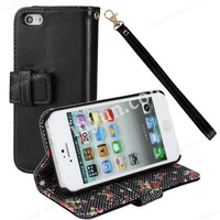 for iPhone 5 5S Plain wallet leather cover case with flower pattern inside