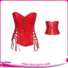 Wholesale Lover-Beauty Sexy Red Leather Corset With Strap