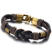 Gold Plating Beads Nautical Knot Brown Leather Bracelets For Women,Double-row Leather Wristband