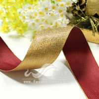 "1-1/2"" Gold And Red Wired Ribbon"