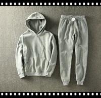 2015 Good Quality Plain Design Mens Hooded Sweat Suits