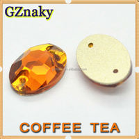 13*18mm Color Coffee Tea oval crystal rhinestone pieces