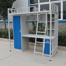 Metal Frame Bunk Bed with Study Table/Dormitory bed with desk