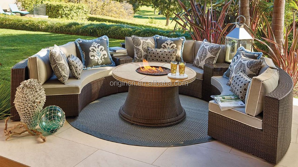 원 디자인 야외 등나무 파티 소파 세트 곡선 의자 사이드 테이블 ...