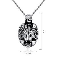 Stainless Steel Stylish Lion Head Pendant and Bail Carved with skull Design
