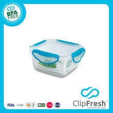 Clip Fresh Square Plastic Airtight BPA Free Food Container with Locks