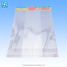 2015 clear opp cpp clear plastic bag with hang hole/cheap plastic bags with self adhesive tape and header