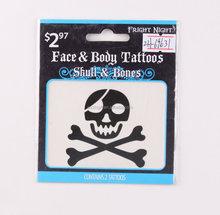 black skull bones face Tattoo Sticker