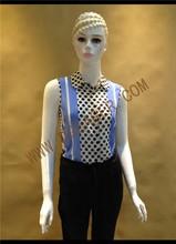 Original Design Ladies Polka Dot Sleeveless Chiffon Blouse
