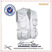 Sunnytex 2015 design Highest quality OEM Multi Pocket men sleeveless plain white cotton vest