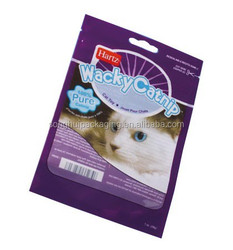 three sides sealed plastic bag for cat food/cat feed plastic bag