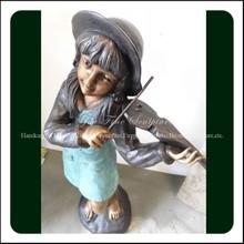 Playing Violin Garden Girl Wholesale Bronze Statues