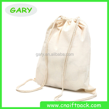 Factory Printing White Drawstring Backpack Cotton Bag