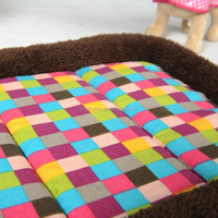 Warm Grid plush pet dog cat bed kennel house for hot sale