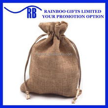 Supply logo printed cheap recycled natural small jute bag for promotion